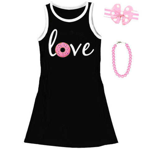 Love Donut Tank Dress Black White