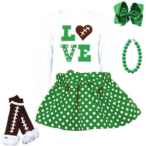Love Football Shirt Emerald Green Polka Dot