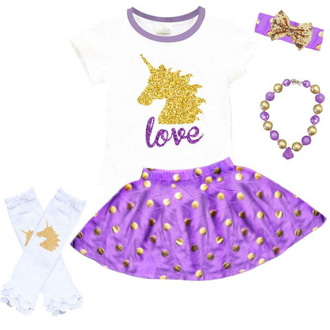 Love Gold Unicorn Outfit Purple Polka Dot Top And Skirt