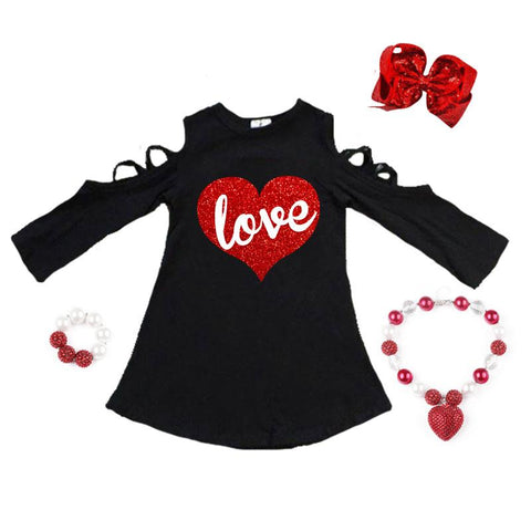 Love Heart Dress Red Sparkle Cold Shoulder Black