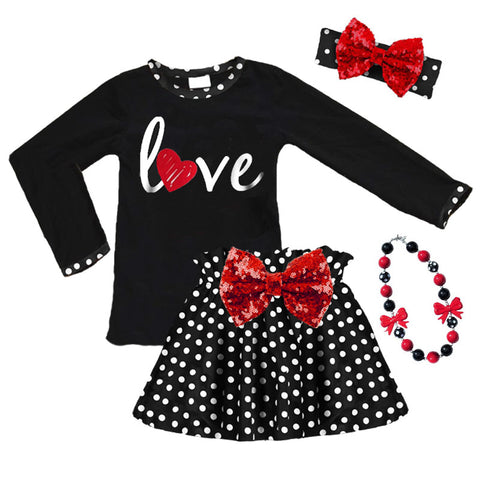 Love Heart Outfit Polka Dot Sequin Top And Skirt