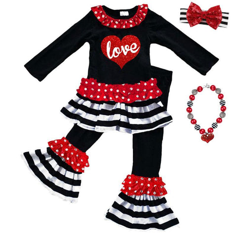 Love Heart Outfit Red Polka Dot Black Stripe Top And Pants Ruffle