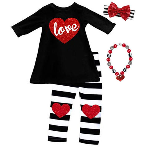 Love Heart Outfit Red Sparkle Black Stripe Top And Pants