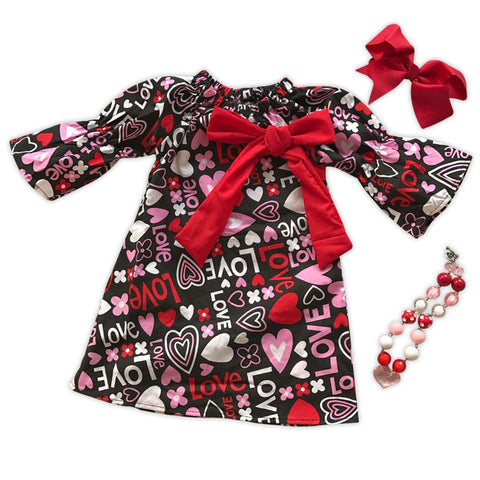 Love Hearts Red Bow Peasant Dress