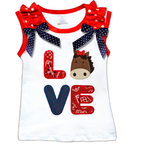 Love Horse Red Bandana Bow Shirt