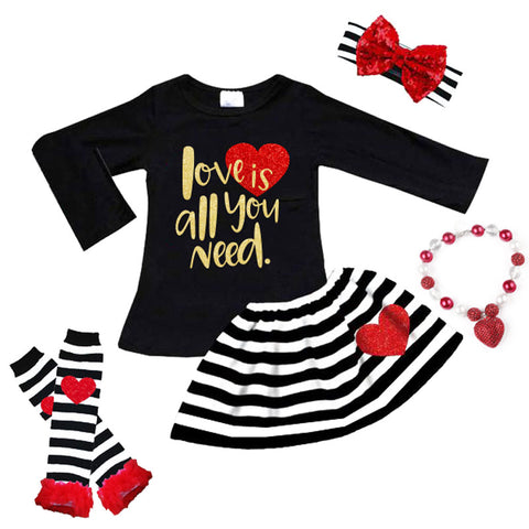 Love Is All You Need Outfit Black Stripe Top And Skirt
