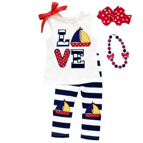 Love Sailboat Navy Stripe Top And Capri