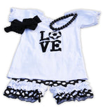 Love Soccer Black White Polka Shorts Set
