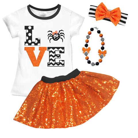 Love Spider Orange Sequin Top And Skirt