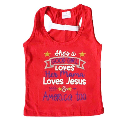 Loves Jesus America Too Tank Top Red White Bow