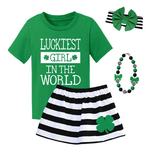 Luckiest Girl In The World Outfit Black Stripe Top And Skirt