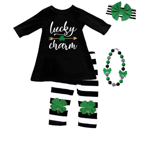 Lucky Charm Outfit Black Stripe Top And Capri