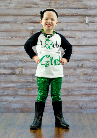 Lucky Girl Green Sequin Pant Set