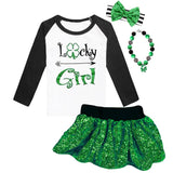 Lucky Girl Shirt Clover Arrow Green Black Raglan