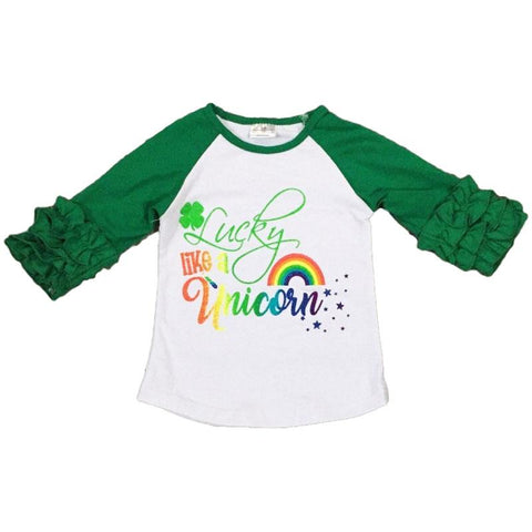Lucky Unicorn Shirt Green Raglan Ruffle
