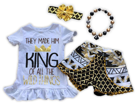 Made Him King Gold Moroccan Aztec Shorts Set