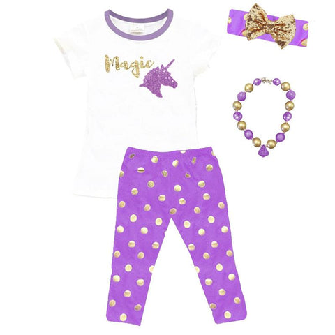 Magic Unicorn Outfit Gold Polka Dot Lavender Purple Top And Leggings