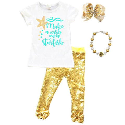 Make A Wish Starfish Outfit Teal Gold Sequin Top And Pants