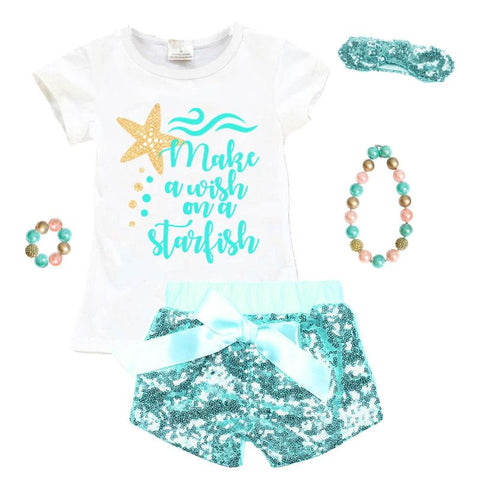Make A Wish Starfish Outfit Teal Gold Sequin Top And Shorts