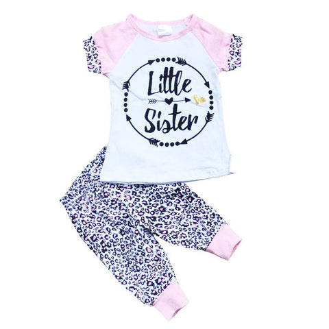 Matching Cheetah Outfit Little Big Sister Pink Black