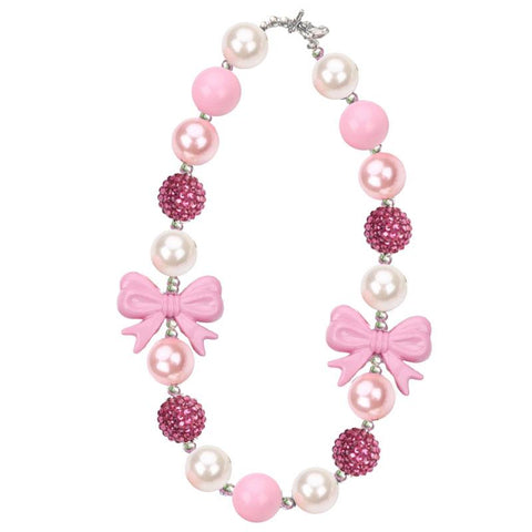 Mauve Pink Necklace Bow Chunky Gumball