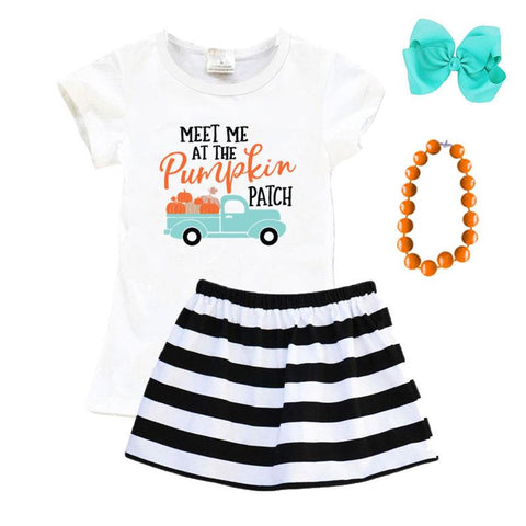 Meet Me At The Pumpkin Patch Outfit Black Stripe Top And Skirt
