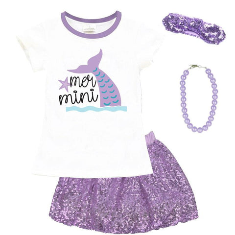 Mer Mini Mermaid Outfit Lavender Top And Skirt Purple