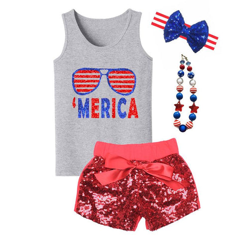 Merica Glasses Sequin Tank Top