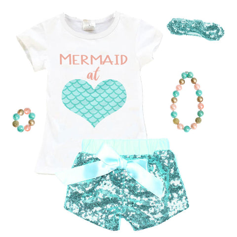 Mermaid At Heart Outfit Coral Scales Top And Shorts