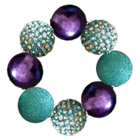 Mermaid Bracelet Teal Purple Chunky Gumball