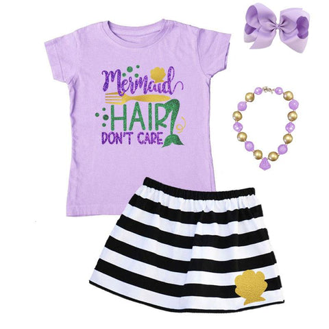 Mermaid Hair Dont Care Outfit Black Stripe Purple