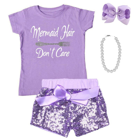 Mermaid Hair Dont Care Outfit Purple Top And Shorts Mommy Me