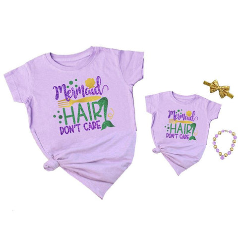 Mermaid Hair Dont Care Shirt Purple Mommy And Me