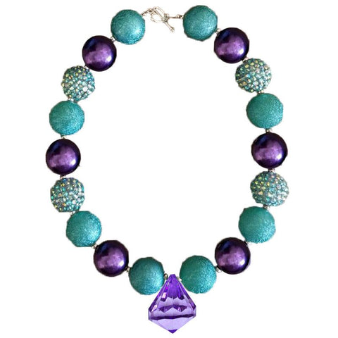 Mermaid Necklace Teal Purple Chunky Gumball