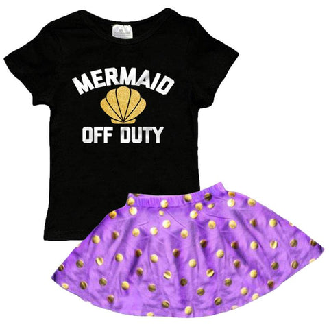 Mermaid Off Duty Outfit Purple Shell Purple Polka Dot Top And Skirt Black