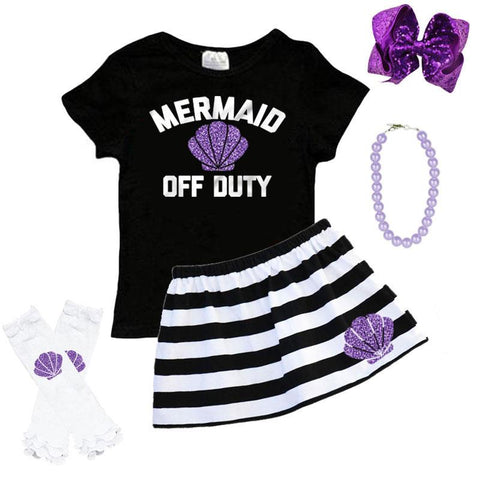 Mermaid Off Duty Outfit Purple Shell Stripe Top And Skirt