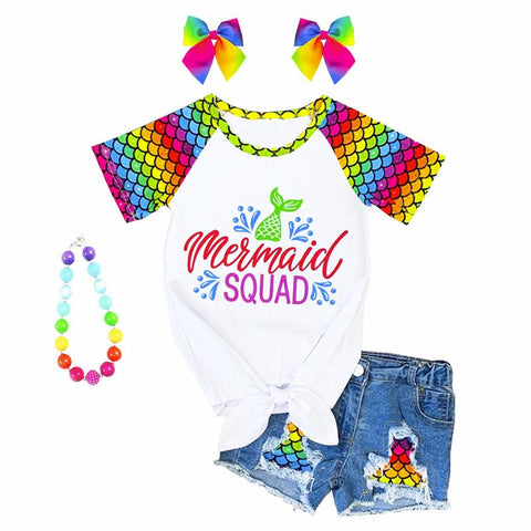Mermaid Squad Outfit Rainbow Top And Shorts