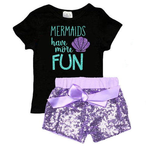 Mermaids Have More Fun Outfit Purple Sequin Top And Shorts