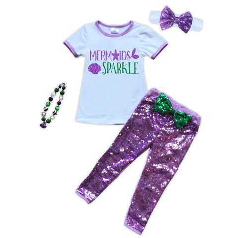 Mermaids Sparkle Purple Sequin Top And Pants