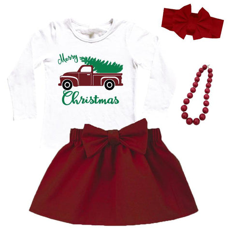 Merry Christmas Outfit Vintage Truck Top And Skirt Burgandy
