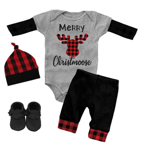 Merry Christmoose Outfit Buffalo Plaid Onesie And Pants Gray