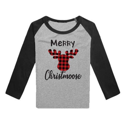 Merry Christmoose Shirt Gray Black Raglan