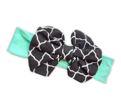 Mint Black Moroccan Messy Bow Headband