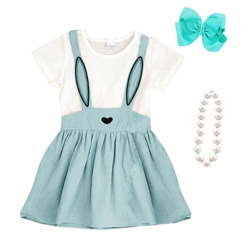 Mint Blue Bunny Ears Dress Heart