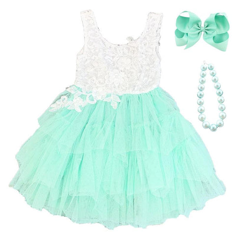 Mint Lace Dress Tutu Tulle
