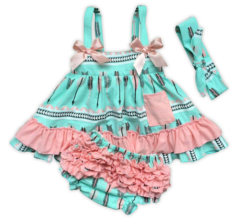 Mint Pink Arrow Two Piece