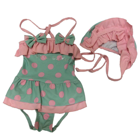 Mint Pink Polka Dot Swimsuit One Piece