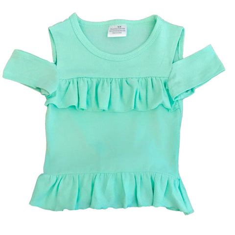 Mint Ruffle Off Shoulder Shirt