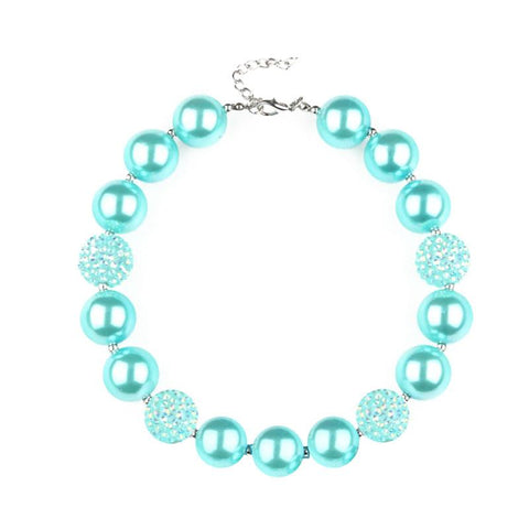 Mint Sparkle Necklace Pearl Chunky Gumball.