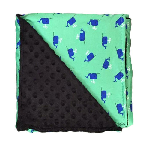 Mint Whale Black Minky Blanket